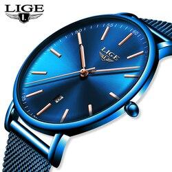 Lige masculino relógios de luxo marca superior à prova dwaterproof água ultra fino relógio azul malha cinto fashon casual relógio de quartzo masculino esporte relógio de pulso