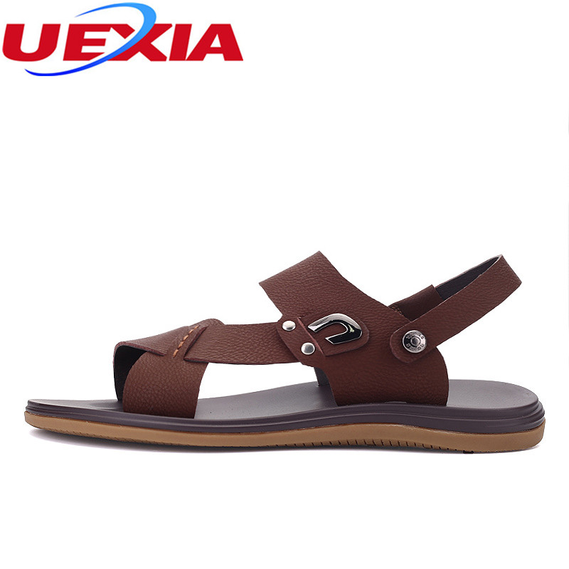 UEXIA 2018 New Men Leather Sandals Shoes Closed Toe Leather Male Sandal Summer Beach Men Shoes Flats Men Sandals Big Size 37-47 2016 summer men sandal sale medium b m back strap shoes melissa genuine leather sandals new men s beach shoes free shipping