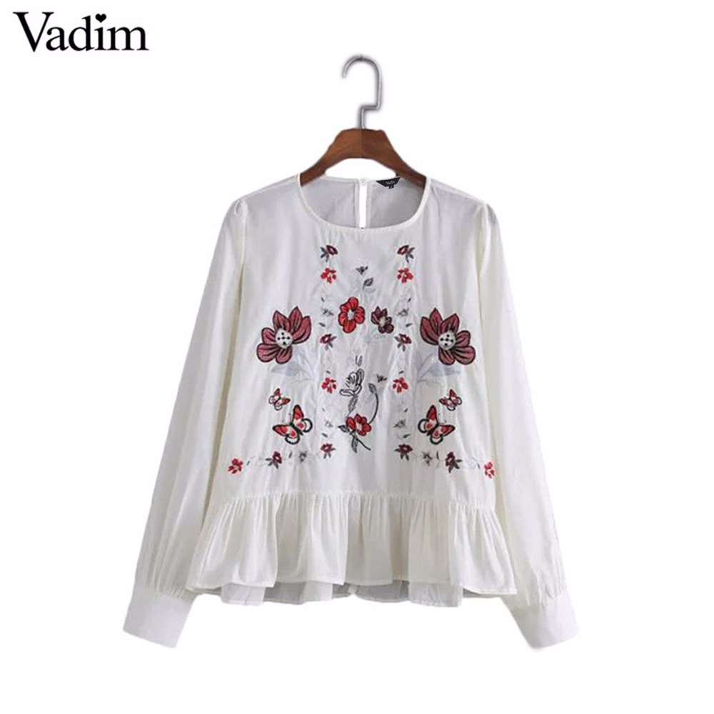 HTB1ryoxRVXXXXamapXXq6xXFXXXF - Women vintage flower embroidery shirts long sleeve