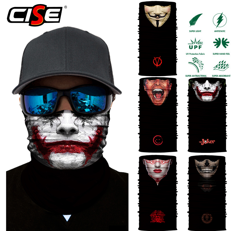 3D Seamless Clown Joker Balaclava Magic Face Mask Warmer Motorcycle Ski Neck Gaiter Shield Durag Head Bandana Scarf Sun
