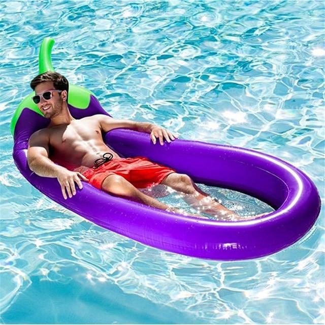Berinjela Adultos Piscina Inflável Gigante Flutuante Cama de Água Cama de Praia Dobrável Sofá Espreguiçadeira Float Portátil Cadeira de Praia