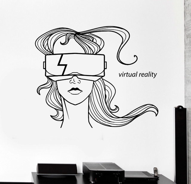 Virtual Reality Words Wall Art Stickers Home Decor Living Room Shop Window Decorate Vinyl Decals