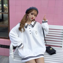 Pullover Outerwear School-Uniform Sailor-Collar Oversized Harajuku Japanese Women Embroidery