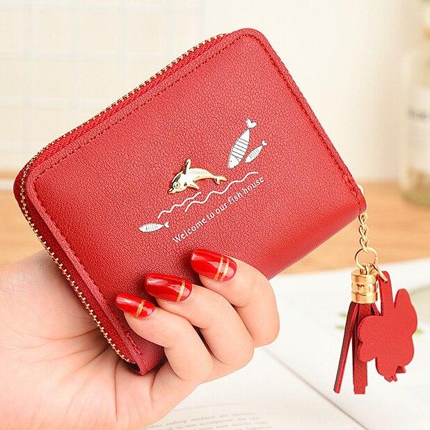 Women Wallets Cute Fish Lady Purses Woman Short Tassels Zipper Coin Purse Cards Holder Wallet Bags Pocket Flap Moneybags Pouch wallet