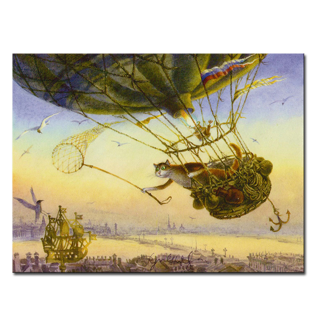 Vladimir Rumyantsev fly and catching cat world oil painting wall Art ...