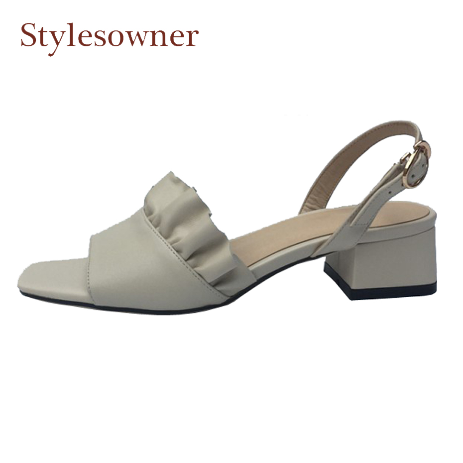 Stylesowner new fashion pleated design back strap women sandals solid color concise ruffles square open toe 4cm heel lady sandal 2018 summer new arrived strap design wedges women sandals peep toe comfort mid heel sexy lady sandal fashion student casual shoe