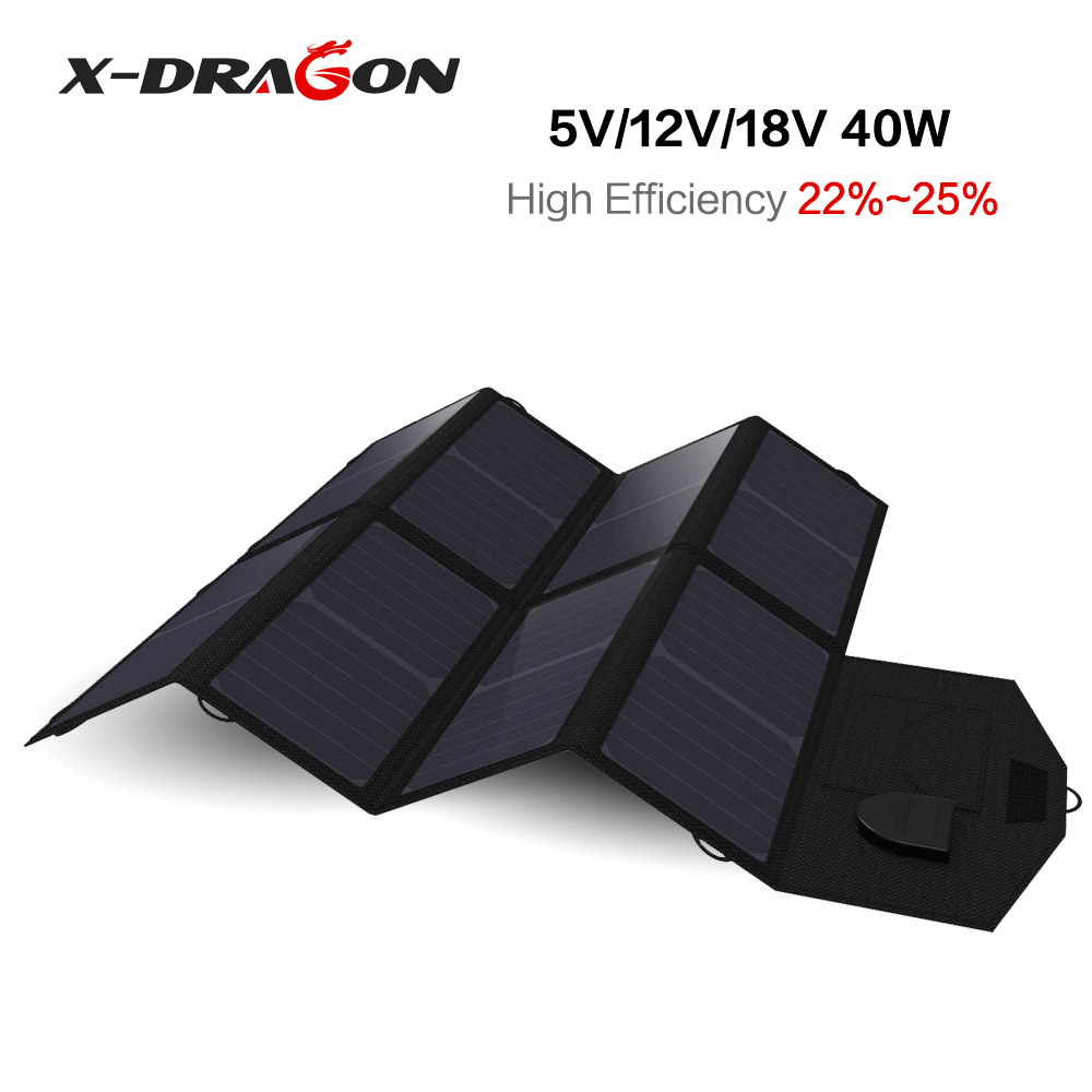 X-DRAGON Foldable Portable Solar Panel Charger 5V USB+18V DC Solar Chargers for Phones, Tablets, Laptops, Car Battery, Camera.