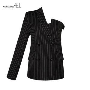Image 4 - AEL אחד כתף בלייזר נשים חליפת דש פסים Ladys סתיו אופנה 2018 חדש גובה איכות רחוב ללבוש אסימטרית גאות