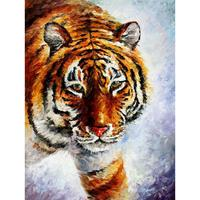 Hand painted palette knife oil paintings tiger on the snow modern art on canvas wall pictures for living room