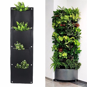 4 And 7 Pocket Felt Vertical Gardening Flower Pots Planter Hanging Pots  Planter On Wall Garden Green Field