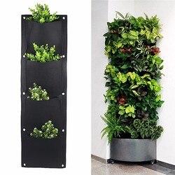 4 e 7-pocket feltro vertical jardinagem vasos de flores plantador pendurado vasos plantador na parede jardim campo verde