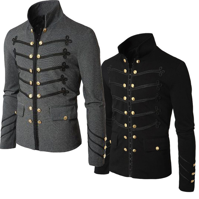 c9abc8d5e450 2018 Men's Military Jacket Double-breasted Vintage Victorian Gothic Coat  Steampunk Frock Uniform Buttons