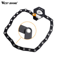 WEST BIKING Folding Bike Lock Alloy Steel Chain Anti Theft Lock Waterproof Anti shear Security MTB Road Electric Bike Lock