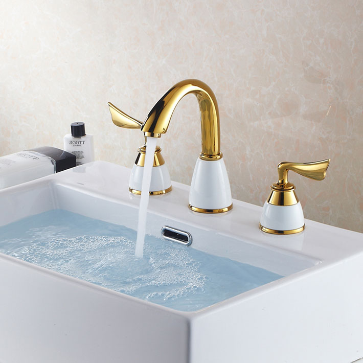 gold color bathroom faucets new design mini widespread 3pcs water spray gold color 18529
