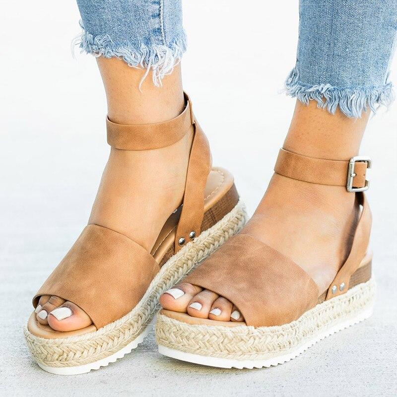 Platform Sandals Shoes High-Heels Femme Women Soft Wedges with Summer Chaussures