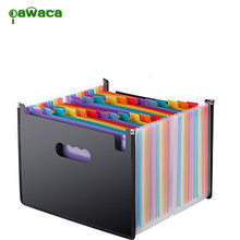 24 Pockets Rainbow Accordion Expanding File Folder Portable A4 Organizer Bag Doent Resume Office Supplies