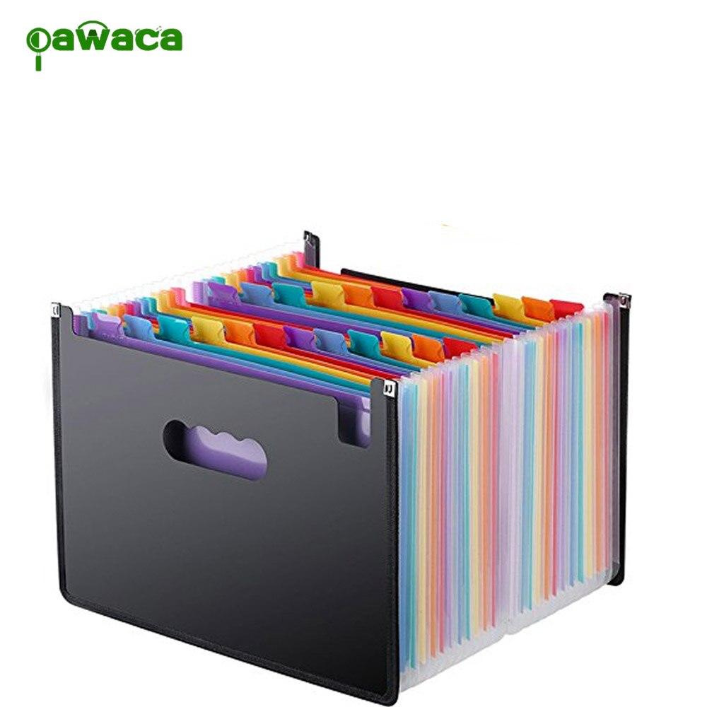 24 bolsillos Arco Iris acordeón expansión carpeta de archivos portátil A4 archivo organizador bolsa documento reanudar Oficina