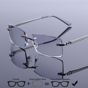 f5d6ac2a06 Ultraligero de aleación de montura gafas de sol hombres sin marco gafas  hombre Anti azul Ray lentes fotocromáticos gafas de 943