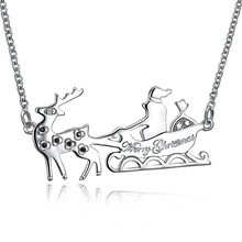 2017 New Cute Deer with ski bob zircon pendant wide Necklace female Rose gold Christmas Gift silver gold jewelry