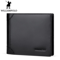 WILLIAMPOLO Men Short Wallet Trifold Purse Genuine Leather Card Holder Wallet For Men Fashion Vertical Horizontal Design 3 Folds