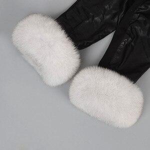 Image 3 - Fur Arm Cuffs For Sleeve Natural Real Fox Fur Fashion Genuine Fur Short Cuff Cute Arm Warmer Solid Color Wrist Warmer Soft