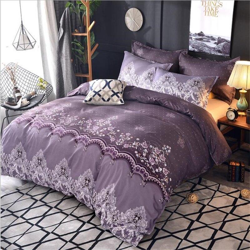 New arrival Bedding set Pug Luxury Whilt Purple Duvet Cover Queen King size Blue cama de casal Single Pillowcase Romantic Lace