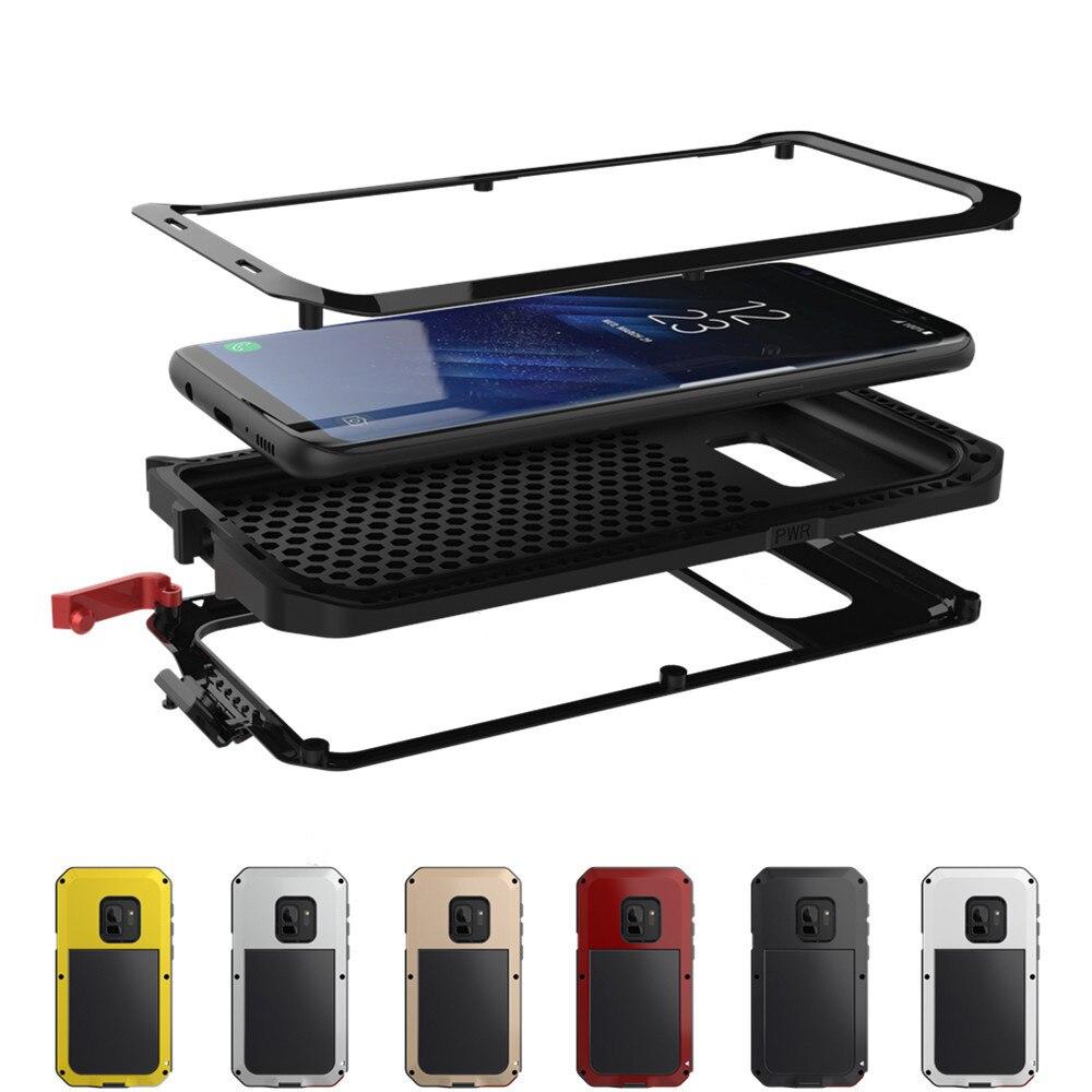 A Desgraça de luxo Armadura De Metal Heavy Duty Caso de Proteção para Samsung Galaxy S4 S5 S6 S7 Nota 3 4 5 8 borda S8 S9 Plus Capa À Prova de Choque
