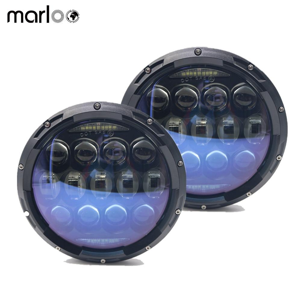 Marloo 135W Blue Projector Lens 7 inch LED Headlights Amber Turn Signal / DRL Bulbs Kit for Jeep Wrangler JK LJ JKU