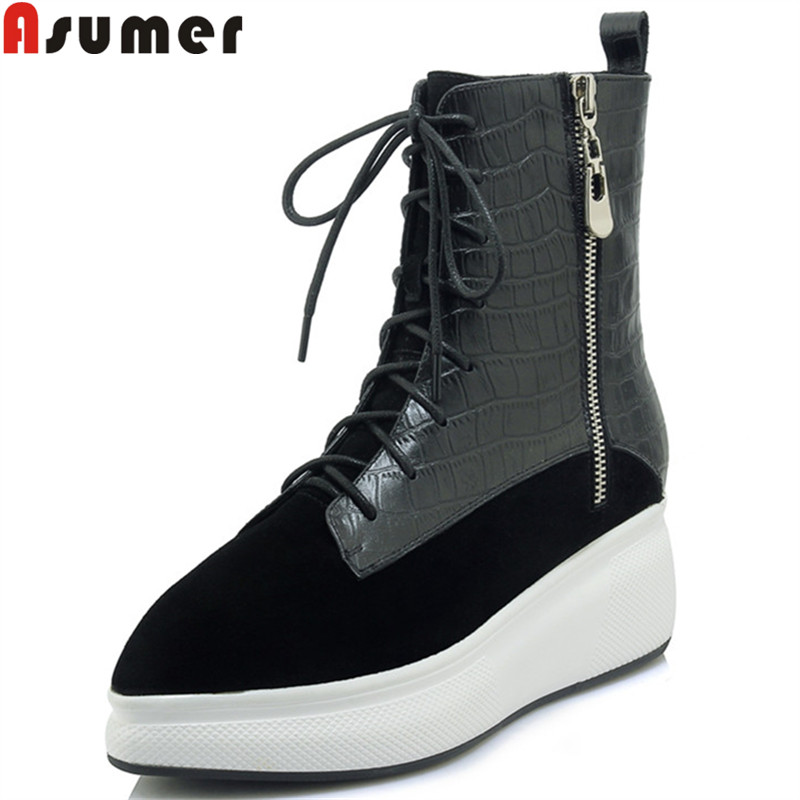 ASUMER black fashion ankle boots for women pointed toe zip lace up genuine leather boots flat platform boots ladies shoes woman asumer black white fashion spring autumn casual ladies flat platform shoes round toe lace up genuine leather flat shoes women