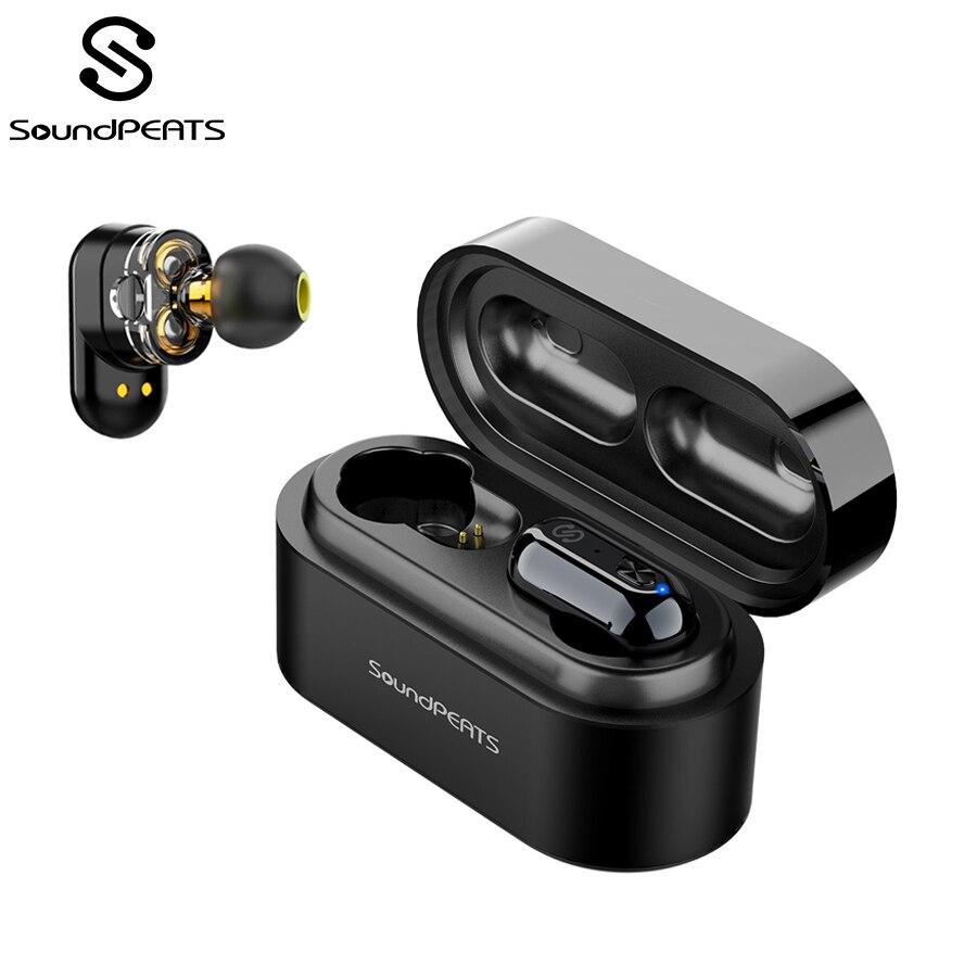 SoundPEATS véritables écouteurs sans fil Bluetooth 5.0 écouteurs intra-auriculaires stéréo IPX6 double pilote dynamique Bluetooth casque anti-transpiration