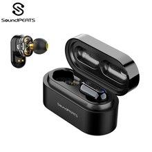 Soundpeats verdadeiro fones de ouvido sem fio bluetooth 5.0 fones de ouvido estéreo ipx6 dupla dinâmica drivers bluetooth sweatproof fone de ouvido
