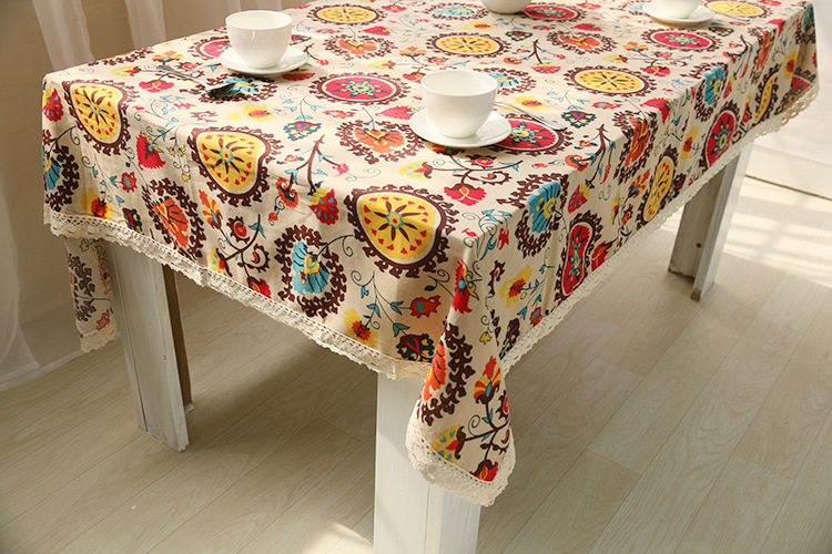 National wind explosion models cotton linen tablecloths Sun flower table cloth tablecloth Table Covers for Wedding Party Home 7