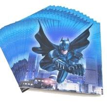 20pcs/set Batman Disposable Paper Napkins kids supplies Happy Birthday Party Decoration Cartoon Boys favor Baby Shower