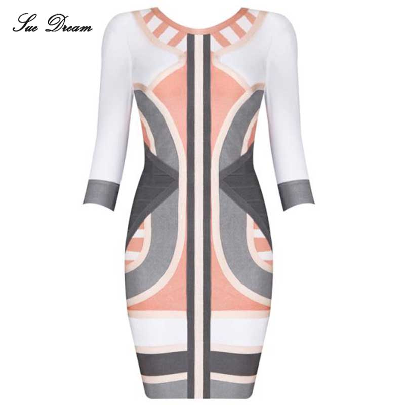 Women Summer Dresses 2017 new O-Neck Fashion patchwork bandage dreess Wholesale Mide Sleeve Sexy Bodycon Celebrity Party Dress фото