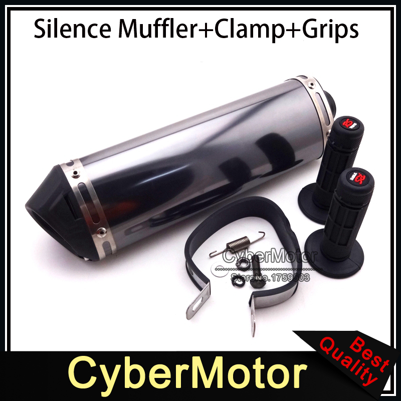 38mm Mute Exhaust Muffler With Removable Silencer Throttle Handle Grips Pit Dirt Trail Bike ATV Quad Motorcycle Motocross Motard