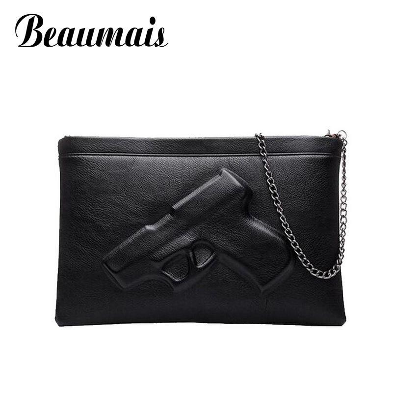 Beaumais 3D Gun designer Leather women messenger bag small handbag chains quality pu leather bag women tote shoulder bags BG171