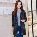2016 Hot Sale Autumn Women Plaid Blazers New Fashion Style Spring Slim Long Jacket Coat Single Button Full Sleeve Female Blazer