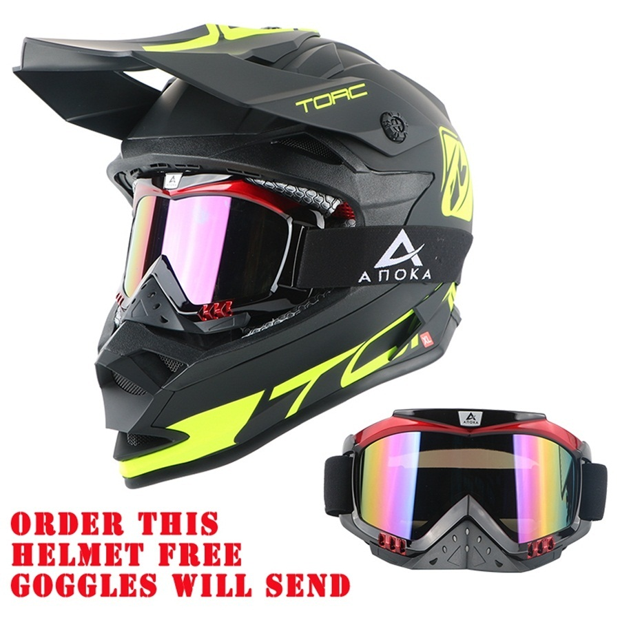 Free shipping 1pcs TORC T32 Professional Cross MTB Helmet DOT ATV ECE Approved Off Road Motorbike Motorcycle Helmet With Goggles 2017 new arrivel free shipping cross motorcycle helmet ece dot approved off road helmet motorcycle helmet beon smlx available