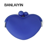 Sapphire Blue Candy Silicone Key Coin Change Heart Wallet Purse Bag Pouch Case