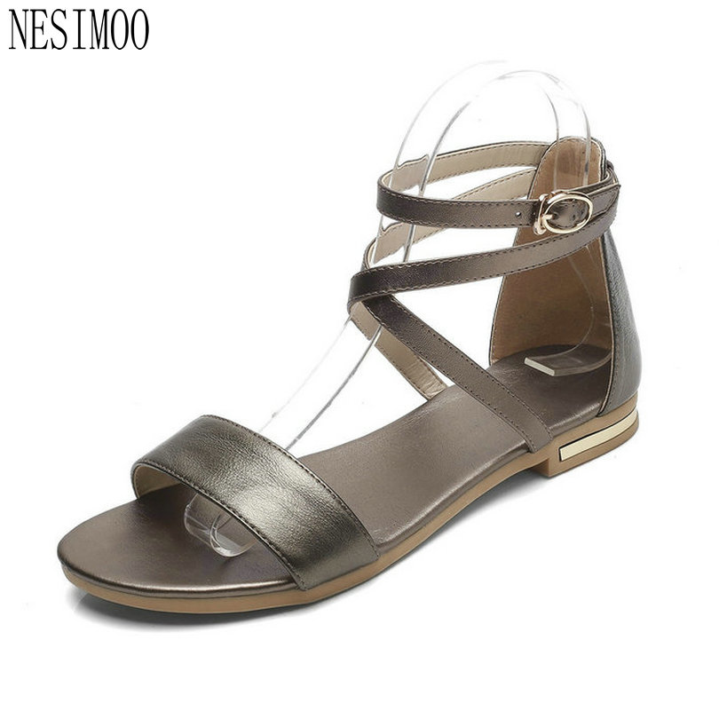 NESIMOO 2018 Women Sandals Shoes Ankle Strap Woman Genuine Leather Beach  Square Low Heel White Ladies 73556c65fdd4