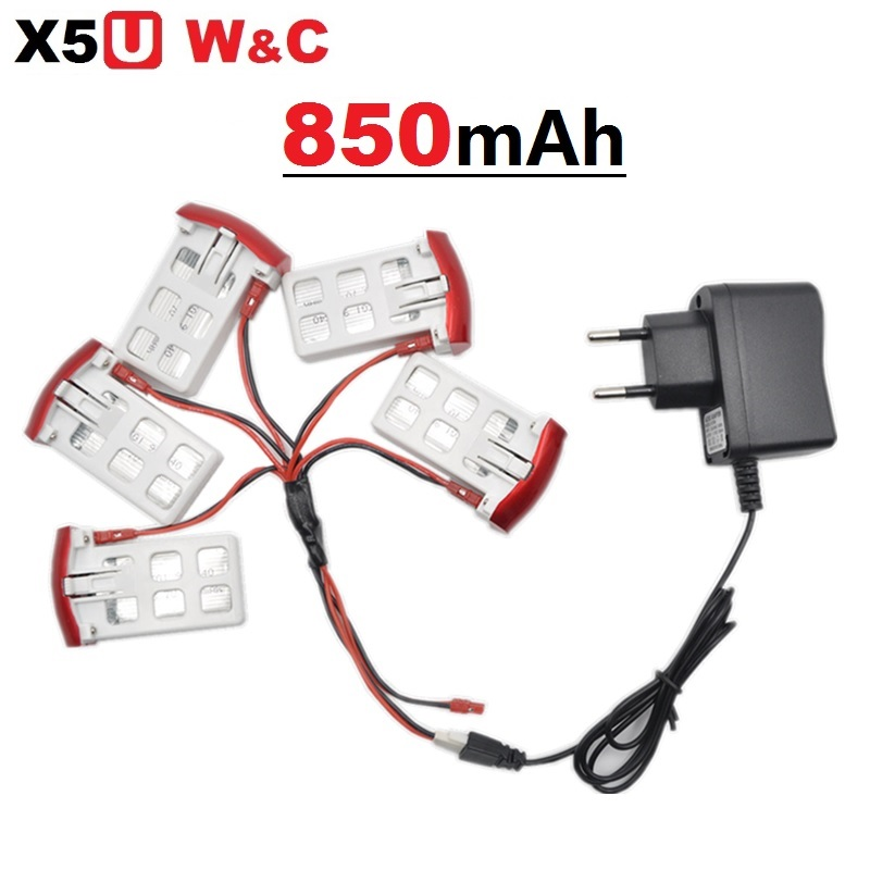 SYMA X5UW X5UC 850mAh 3.7V LiPo Battery+US EU AC Charger+5 in 1 Charing Cable RC Quadcop ...