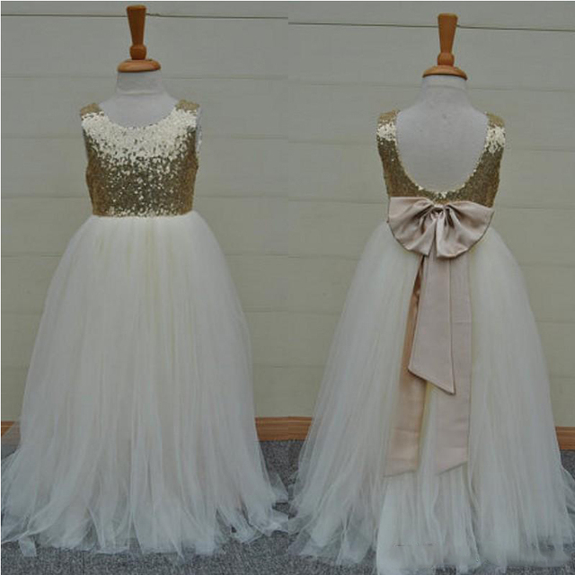 Real sample high quality white flower girls dresses shining gold real sample high quality white flower girls dresses shining gold sequins open back bow sash long mightylinksfo Gallery