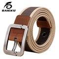Baieku hombres moda casual cinturón de cuero hombres y mujeres de la Correa de Lona ocasional Engrosamiento