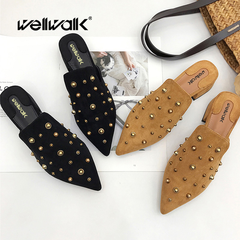 Ladies Shoes 2018 Fashion Velvet Women Flat Mules Pointed Toe Women Slippers Flock Square Heel Shoes High Quality Women Shoes kjstyrka 2018 brand designer women mules pointed toe ladies shoes med heel sandals black red lattice fashion girls shoes