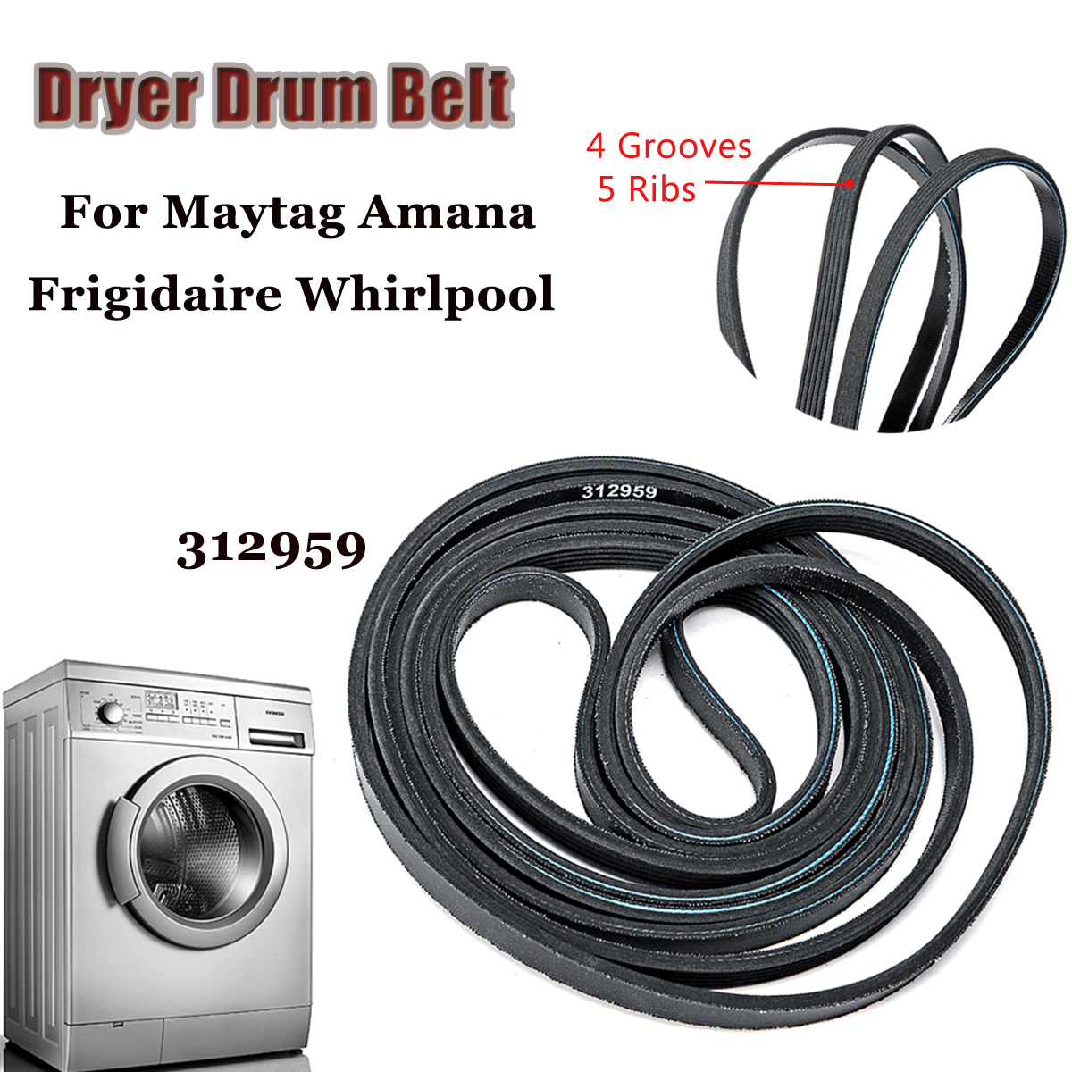 Dryer Drum Belt For Maytag Amana Frigidaire Whirlpool 312959 3 12959 Wiring Harness Diagram Y312959 Clothes Parts In From Home Appliances On