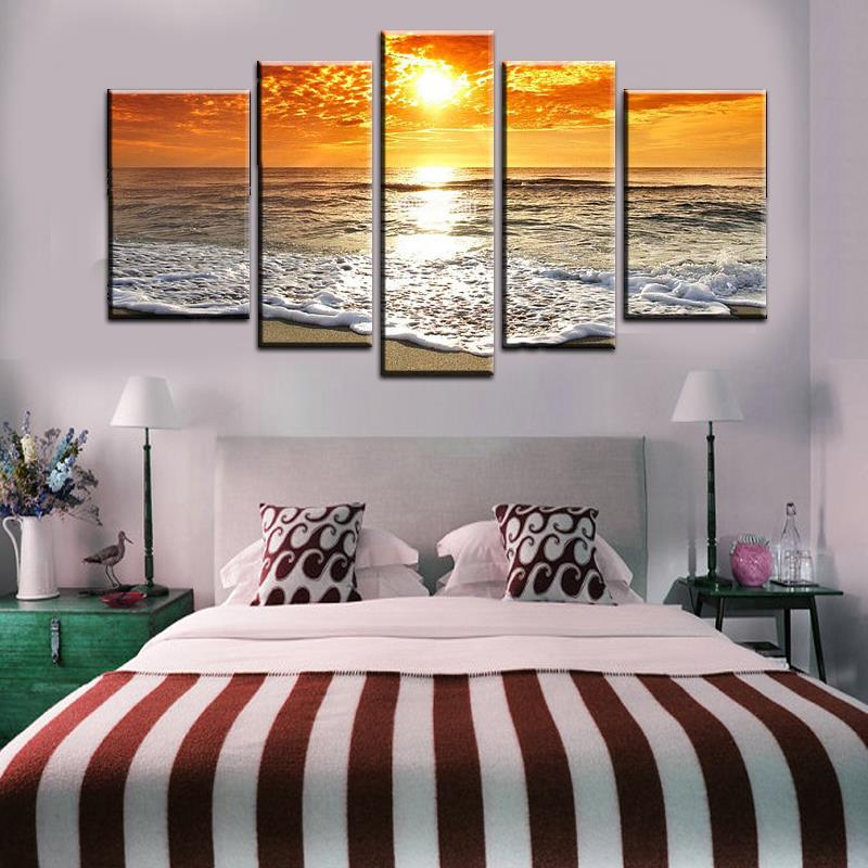 5 Piece Wall Art seascape waves painting promotion-shop for promotional seascape