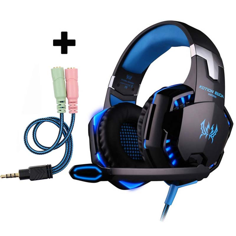 New EACH G1000 Deep Bass Gaming Headphone Stereo Surround Over Ear Headset 3.5mm+USB Headphones With Mic LED Light For PC Gamer kotion each g1000