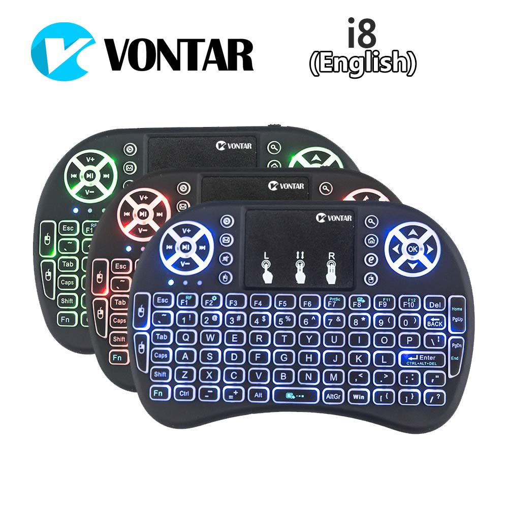 VONTAR i8+ English Russian Backlight Mini Wireless Keyboard 2.4GHz 3 color Touchpad Handheld for Android TV BOX Laptop Backlit