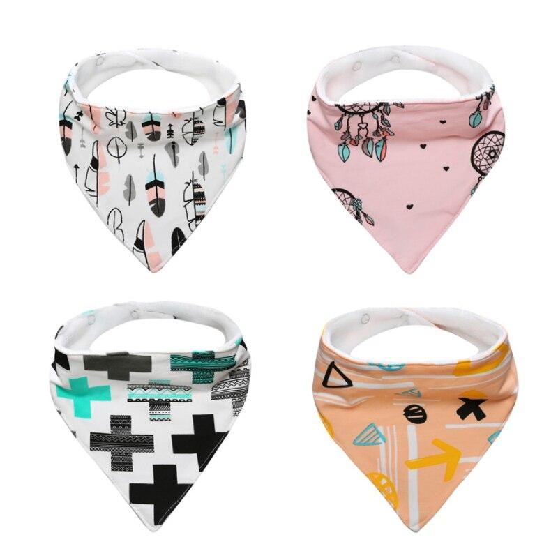 4 Pcs in 1 set Baby Bibs Cute Printed Cotton Soft Bibs Towel Newborn Fashion Triangle Scarf