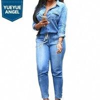 New Fashion Women Denim Jumpsuits Jean Hot Sale Slim Fit Stretchy Roupas Feminina Pantalon Femme Female Bodysuits Large Size 3XL